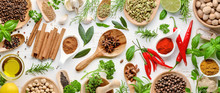 Various Herbs And Spices Flat Lay