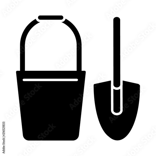 Fototapeta Bucket and spade solid icon. vector illustration isolated on white. glyph style design, designed for web and app. Eps 10 obraz