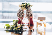 Accessories Of The Bride. Bride Shoes.