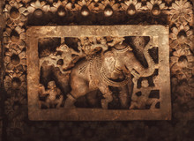 Elephant And Monkies On Ceiling Of Historical Stone Hindu Temple, Halebidu, India.