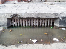 Drainage Clogs By Waste And Garbage And Dry Leaves
