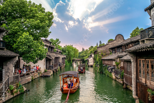 Canvas Prints Cappuccino landscape of wuzhen, a historic scenic town