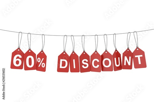Poster  Sixty percent discount tag. 3D rendering.