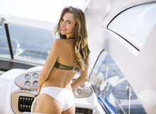 Pretty Young Woman On The Yacht