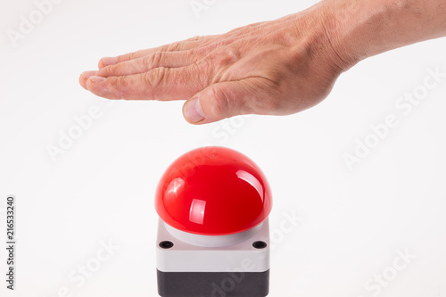 Poster Macarons Hand pushing a red buzzer