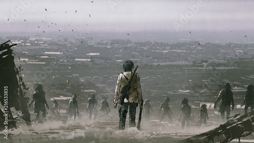 Fototapeta man with weapons facing a crowd of zombies against post apocalypse world, digita