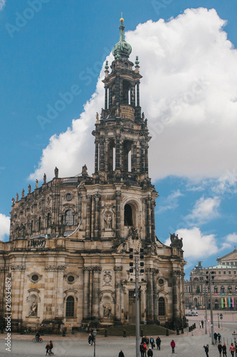 Court Catholic Cathedral of Dresden in the town square. One of the sights of the city. It was built in the 16th century. Dresden, Germany.