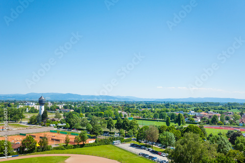 Foto auf AluDibond Blau Water tower Wasserturm and Kehl village, Germany