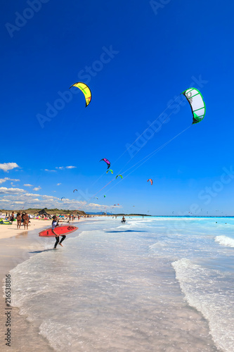 Kites for wind surfing off the italian sandy beach of Rosignano