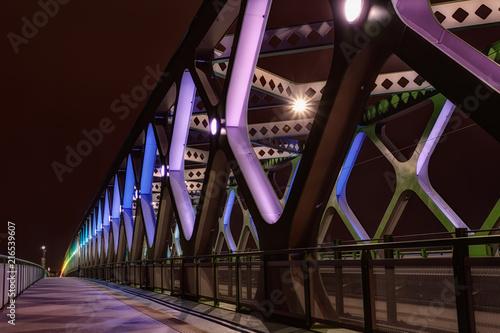 Tablou Canvas Illuminated colorful bridge at night, Bratislava
