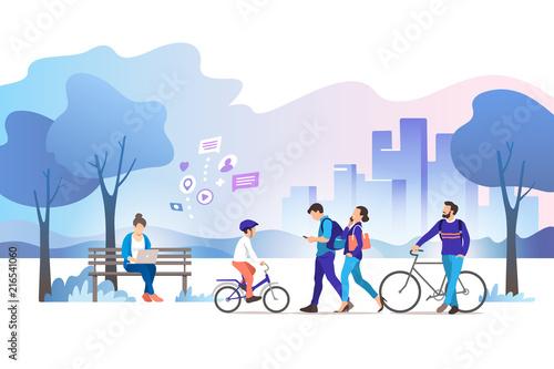 City park. Vector illustration. - 216541060