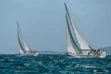 Two Yachts Sail Boats Racing I...
