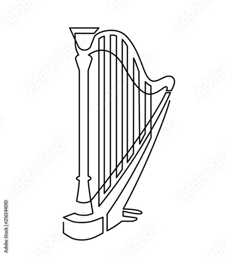 Cuadros en Lienzo Continuous line drawing of Harp linear icon