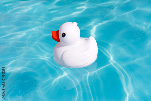 Fotografía  A single white rubber duck alone in the paddling pool
