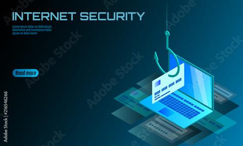 Isometric 3D laptop credit card cvv password phishing. Personal ...