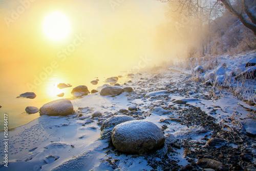 Fotobehang Zwavel geel Frosty morning. Морозное утро