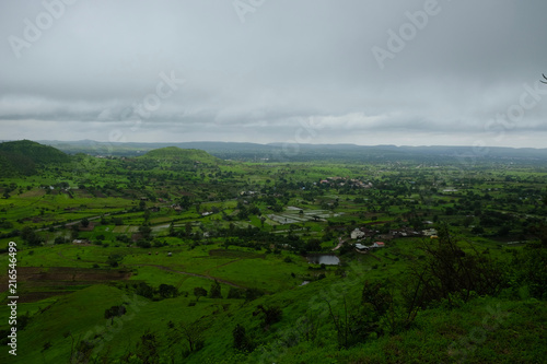 Lush green monsoon nature landscape mountains, hills, Purandar, Pune, Maharashtra, India