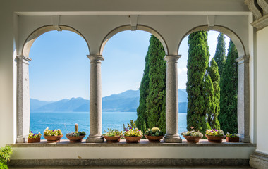 The beautiful Villa Monastero in Varenna on a sunny summer day. Lake Como, Lombardy, Italy.