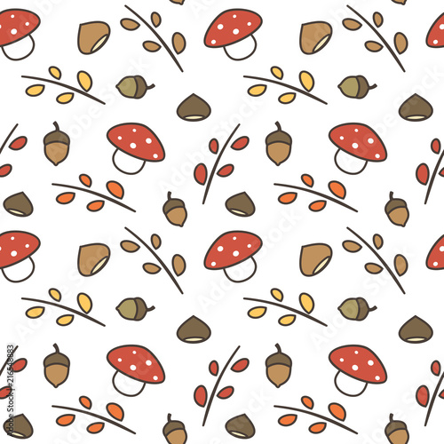 Spoed Foto op Canvas Kunstmatig cute lovely autumn seamless vector pattern background illustration with branches, leaves, mushroom, acorns, chestnuts