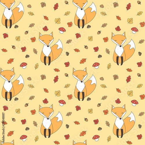 ladny-jesien-bezszwowe-tlo-wzor-ilustracji-z-lisci-lisy-grzyby-zoledzie-i-kasztany