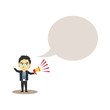 businessman hold a megaphone illustration with bulb chat