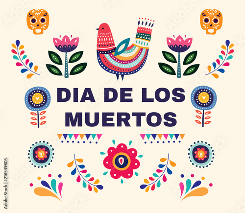 Valokuva  Beautiful vector illustration with design  for Dia De Los Muertos