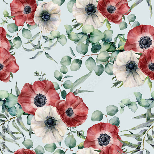 Watercolor seamless pattern with eucalyptus leaves and anemone. Hand painted red and white anemones, green brunch on blue pastel background. Floral botanical illustration for design or background. Wall mural