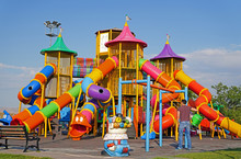 Colorful Children Playground At Public Park In Ankara, Turkey.