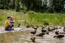 Children Feeding Ducks On Aban...