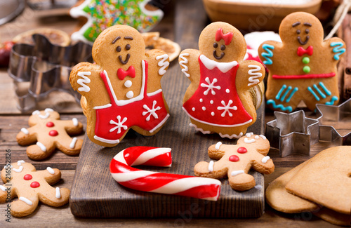 Homemade gingerbread cookies with ingredients for christmas baking фототапет