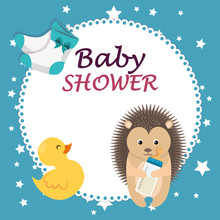 Baby Shower Card With Cute Por...