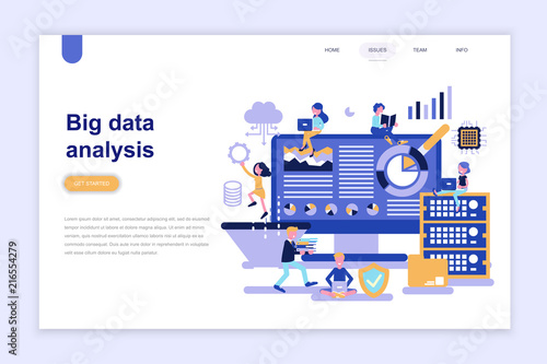 Photo  Landing page template of big data analysis modern flat design concept