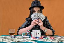 Brunette Woman Hiding Her Face Under Dollars Fan