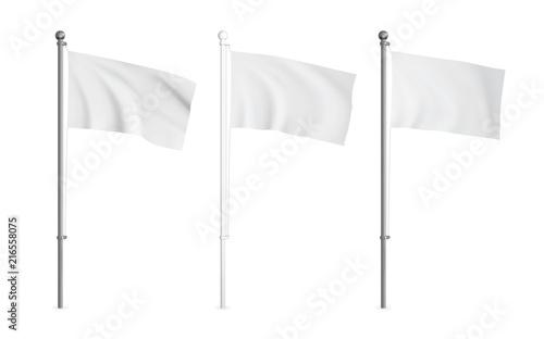 Fototapeta White and metallic wawing flag mockup set. Realistic vector template. obraz