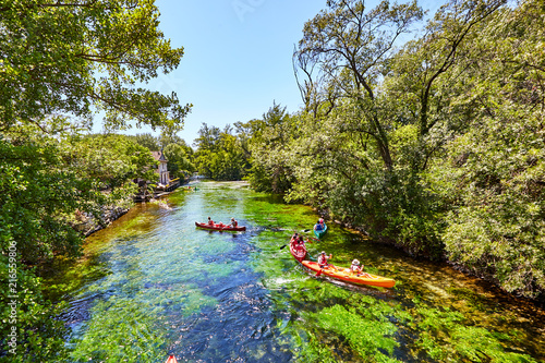 Canvas Prints Forest river kayak, Pays des Sorgues, Fontaine de vaucluse