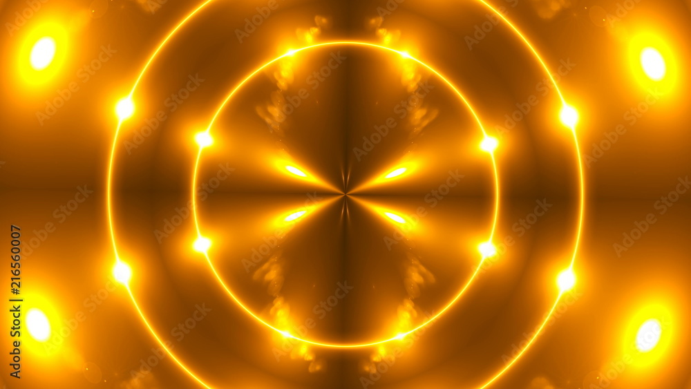 Fototapety, obrazy: Beautiful abstract kaleidoscope - fractal golden light, 3d rendering backdrop, computer generating background