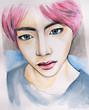 Korean man with pink hair