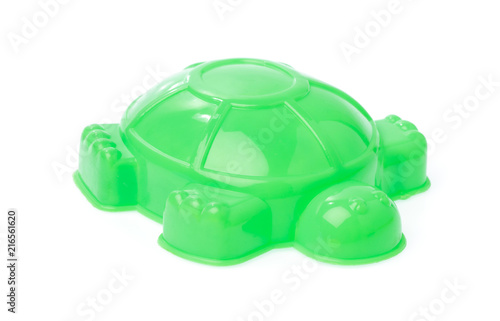 toy plastic sand molds of sea creature isolated on white