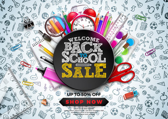 Obraz Back to School Sale Design with Colorful Pencil, Alarm Clock and other School items on Hand Drawn Doodles background. Vector School Illustration with Typography for Coupon, Voucher, Banner, Flyer