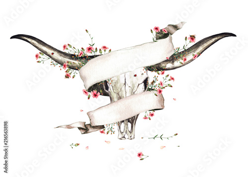 Animal Skull with Flowers. Watercolor Illustration. Wallpaper Mural