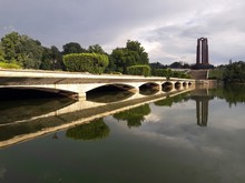Heroes Monument Reflecting In The Lake. The Carol Park Mausoleum Mausoleul Din Parcul Carol Was Built In Honor Of Revolutionary Socialist Militants