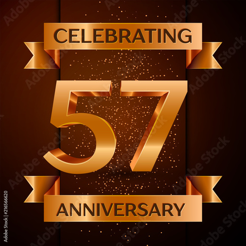 Valokuva  5798532 Realistic Fifty seven Years Anniversary Celebration design banner