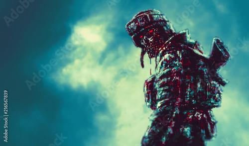 Fotografie, Obraz  Sinister zombie soldier turned
