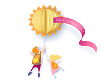 Back To School 1 September Card With Kids And Sun On White Background. Vector Illustration. Paper Cut And Craft Style.