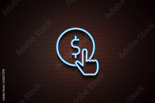 Fotografía pay per click icon in Neon style