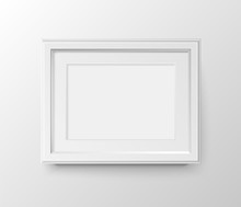 A3 And A4 Horizontal Blank Picture Frame With Passepartout For Photographs. Vector Realistic Paper Or Matte Plastic White With Shadow