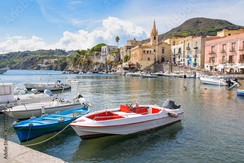 Deurstickers Stad aan het water Boats at Marina Corta in Lipari town