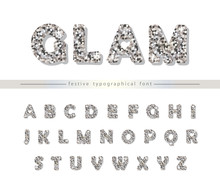 Silver Glitter Font Isolated O...