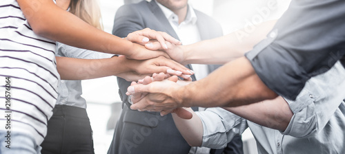 Photo  Stack of hands. Unity and teamwork concept.