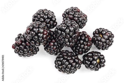 Fotografia, Obraz Fresh blackberry isolated on white background